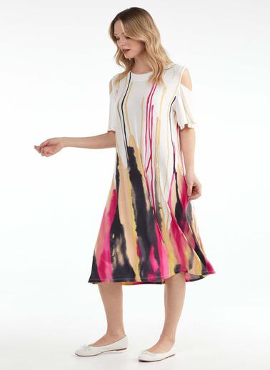 Sementa Kadın Pencere Kollu Desenli Elbise  Fuşya